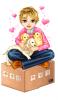 A boy sitting on a box w/ his puppies